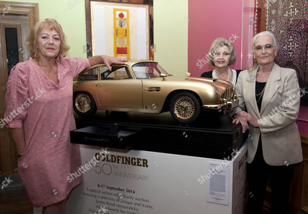 Goldfinger 50th Anniversary Auction Hosted By Chisties Which Is Raising Money For Nspcc Taking Place In London. Pictured Left To Right Margaret Nolan Nadja Regin And Shirley Eaton All Bond Girls From The Goldfing Film. 17.9.14