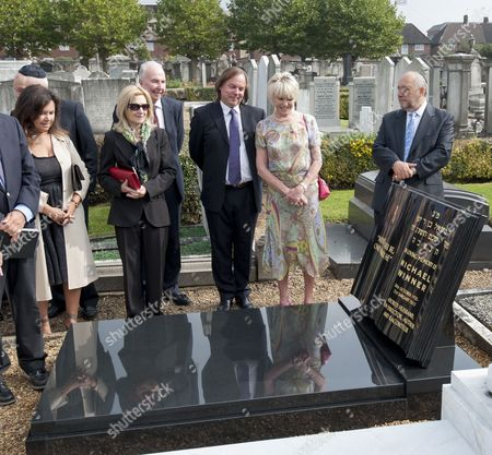 Family And Friends Including Geraldine Winner And Michael Parkinson Gather For The Unveiling Of A Headstone Of Film Director Michael Winner At The Jewish Cemetery In Willesden North London. 19.09.14. Reporter Tania Steer.
