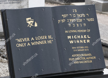 Editorial picture of The Unveiling Of The Headstone Of Film Director Michael Winner At The Jewish Cemetery In Willesden North London.