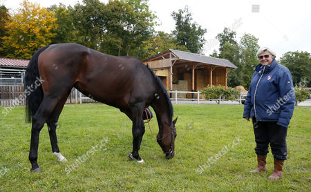 Stock Image of Criquette Head with Treve after retiering at her yard Chantilly