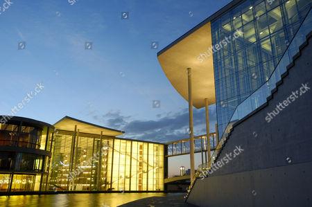 Stock Photo of UNESCO World Heritage Site Museumsinsel, Paul-Loebe-Haus (Parliament) und Marie-Elisabeth-Lueders-Haus (foreground), Berlin, Germany