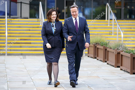 Stock Photo of Prime Minister David Cameron and Caroline Ansell MP