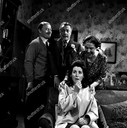 DAVID KOSSOFF AND PEGGY MOUNT IN A SCENE FROM 'THE LARKINS' - 1964