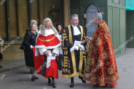 Stock Image of The Right Honourable The Lord Thomas of Cwmgiedd, Lord Chief Justice of England and Wales and The Right Honourable Michael Gove, MP, Lord Chancellor and Secretary of State for Justice after the service.