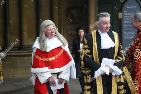 The Right Honourable The Lord Thomas of Cwmgiedd, Lord Chief Justice of England and Wales and The Right Honourable Michael Gove, MP, Lord Chancellor and Secretary of State for Justice after the service.