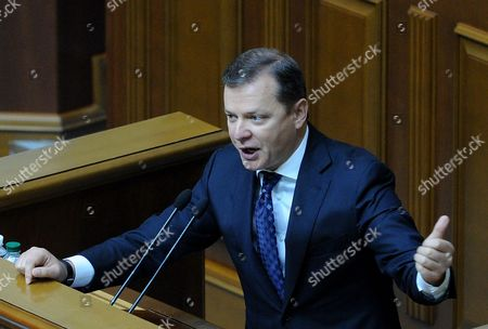 The leader of the Radical Party, Oleg Lyashko speaks to deputies during the meeting of the Ukrainian Parliament
