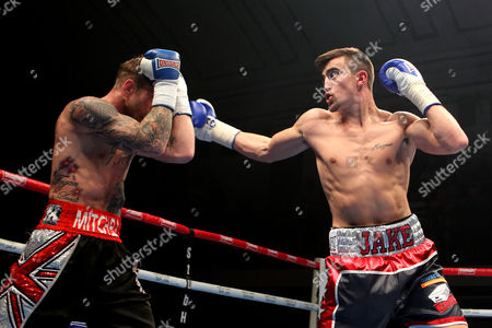 Jake Ball (R) defeats Mitch Mitchell during the 'Stand & Deliver' Boxing Show at York Hall, Bethnal Green