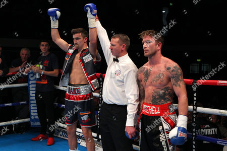 Jake Ball (L) defeats Mitch Mitchell during the 'Stand & Deliver' Boxing Show at York Hall, Bethnal Green