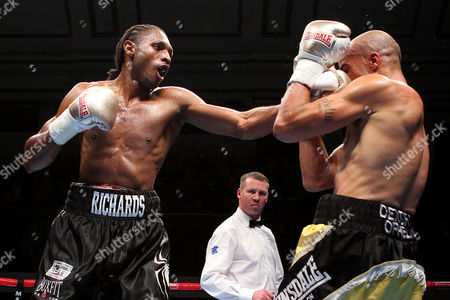 Stock Picture of Craig Richards (black shorts) defeats Scott Douglas during the 'Stand & Deliver' Boxing Show at York Hall, Bethnal Green