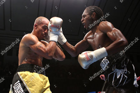 Stock Photo of Craig Richards (black shorts) defeats Scott Douglas during the 'Stand & Deliver' Boxing Show at York Hall, Bethnal Green