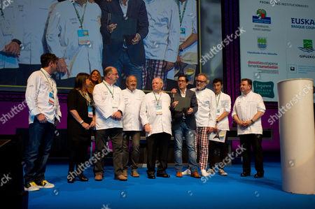 Juan Mari Arzak (L), Jose Mari Aizega (C), and Ramon Roteta (R), during a presentation to the Basque Culinary Center