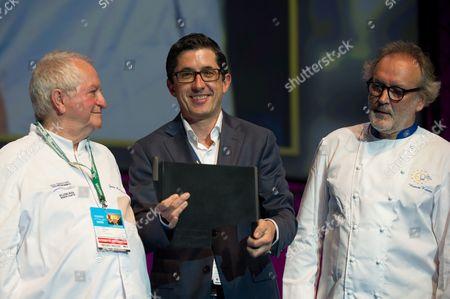 Juan Mari Arzak (L), Jose Mari Aizega (C), and Ramon Roteta (R) during a presentation to the Basque Culinary Center