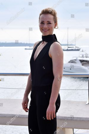 Karine Vanasse poses for a photocall to present the series 'Blue Moon'