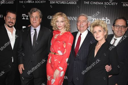 James Vanderbilt, director, Tom Bernard (Co-Pres. Sony Pictures Classics), Cate Blanchett, Dan Rather, Mary Mapes (Author), Michael Barker (Co-Pres. Sony Pictures Classics)