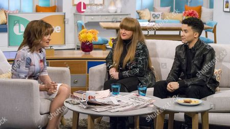 Lorraine Kelly with Jahmene Douglas and his mum Mandy Douglas