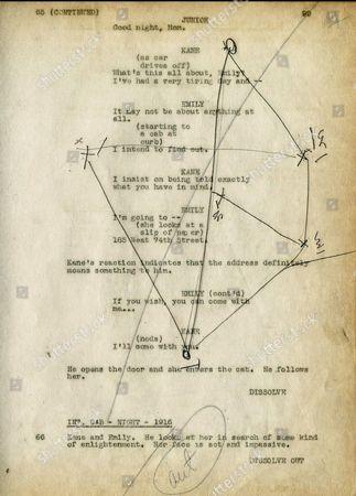 Orson Welles personal Citizen Kane script