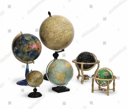 A selection of globes of earth and planets