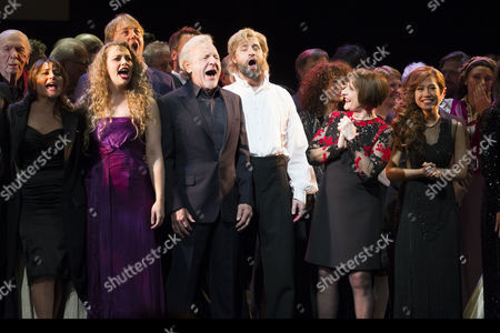 Stock Picture of Herbert Kretzmer (Lyrics), Frances Ruffelle (Eponine), Carrie Hope Fletcher (Eponine), John Owen-Jones (Jean Valjean), Colm Wilkinson (Jean Valjean), Peter Lockyer (Jean Valjean), Patti Lupone (Fantine) and Rachelle Ann Go (Fantine) during the curtain call