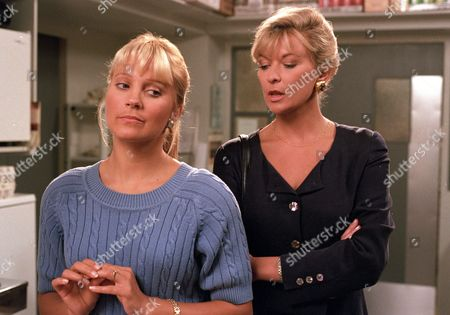 Claire King, as Kim Tate, confronts Malandra Burrows, as Kathy, saying Dave was just being nice to her (Ep 2014 - 3 October 1995)