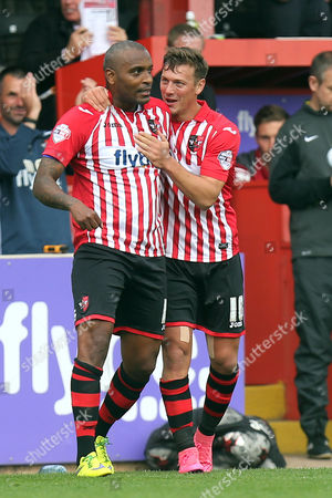 Clinton Morrison of Exeter City is congratulated after scoring the second goal with a cycle kick during Exeter City vs Stevenage at St James Park, Exeter