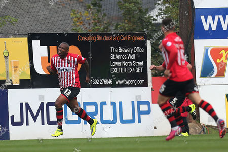 Clinton Morrison of Exeter City celebrates scoring the second goal with a cycle kick during Exeter City vs Stevenage at St James Park, Exeter