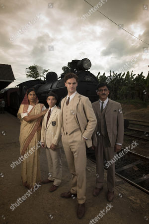 Stock Photo of Tom Bateman as Jekyll and Hyde, Michael Karim as Ravi, Lolita Chakrabarti as Gurinder Najaran and Ace Bhatti as Dr Najaran.