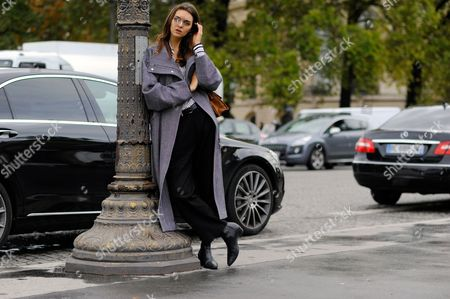 Editorial picture of Street Style, Spring Summer 2016, Paris Fashion Week, France - 06 Oct 2015