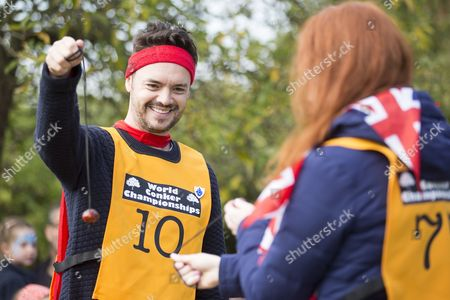 Barney Harwood of Blue Peter competes