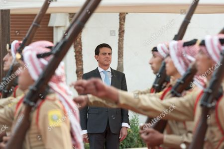 Prime Minister of Jordan, Abdullah Ensour welcomes French Prime Minister, Manuel Valls at the Primature, Amman