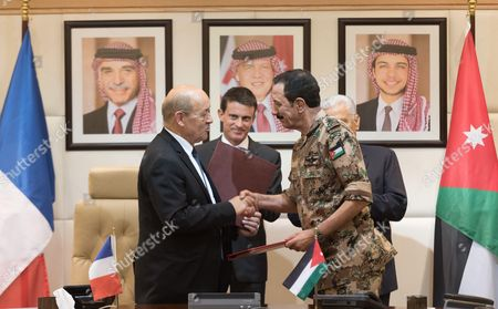 Jean-Yves Le Drian, Manuel Valls, Abdullah Ensour and a General of Jordan