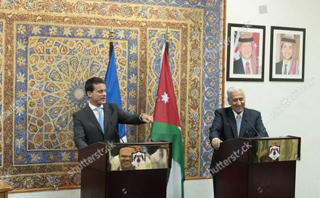 Prime Minister of Jordan, Abdullah Ensour welcomes French Prime Minister, Manuel Valls at the Primature.