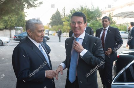 Prime Minister of Jordan, Abdullah Ensour welcomes French Prime Minister, Manuel Valls at the Primature