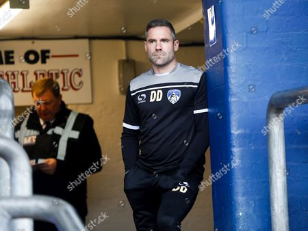 Oldham Athletic manager David Dunn at their home game against Scunthorpe