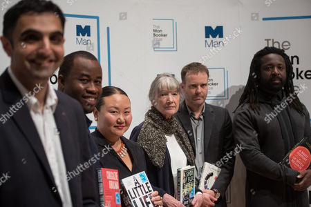 Hanya Yanagihara, Marlon James, Tom McCarthy, Chigozie Obioma, Sunjeev Sahota and Anne Tyler attend the 2015 Man Booker Prize for Fiction shortlisted authors photocall held at the Royal Festival Hall.