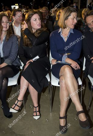 Baroness Karren Brady (left) and Economist Stephanie Flanders (right) seated before at the event.