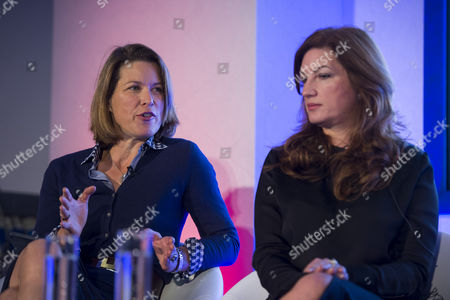 Economist Stephanie Flanders (left) and Baroness Karren Brady (right) speaking at the event.