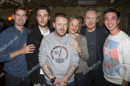 Stock Photo of David Michaels (Lawyer), Tom Hughes (Simon Baron), Paul Andrew Williams (Author/Director), Niamh Cusack (Mrs Baron), Anthony Head (Mr Baron) and Jackie Lam (Guard)