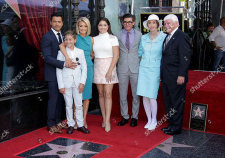 Mark Consuelos and Kelly Ripa with children Lola Consuelos, Joaquin Consuelos, Michael Consuelos, and her parents Esther and Joseph Ripa