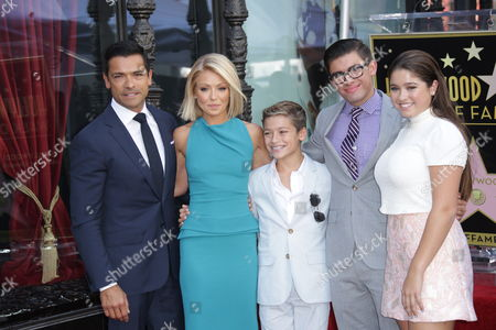 Stock Picture of Kelly Ripa with Mark Consuelos with children Lola Consuelos, Joaquin Consuelos, Michael Consuelos