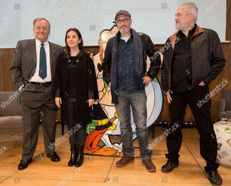 Albert Uderzo, the daughter of cartoonist Rene Goscinny, Anne Goscinny, writer and designer Jean-Yves Ferri and cartoonist Didier Conrad