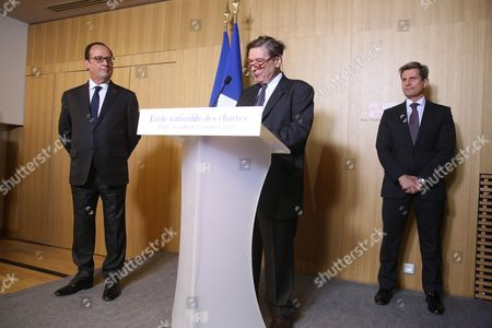 Francois Hollande, Louis Gautier, President of the school council and Jean Michel Leniaud, Director of the School