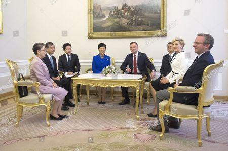Japan's Princess Hisako Takamado meets with Polish President Andrzej Duda
