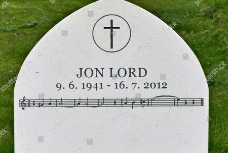 Stock Picture of Jon Lord grave and headstone with the music of Smoke on the Water.