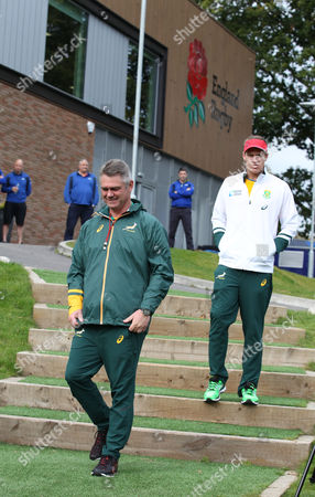 Heyneke Meyer (left) the Head Coach and Jean De Villiers of South Africa at Englands Pennyhill Park Training HQ.