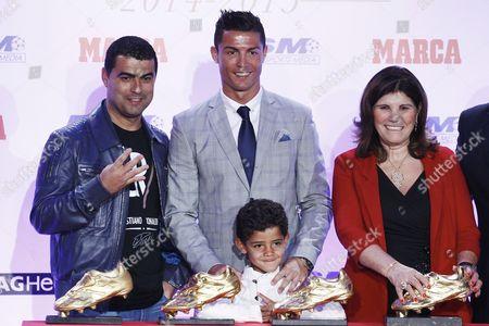 Hugo Aveiro, Cristiano Ronaldo, his son Cristiano Ronaldo jr, Maria Dolores Dos Santos Aveiro and Jose Andrade