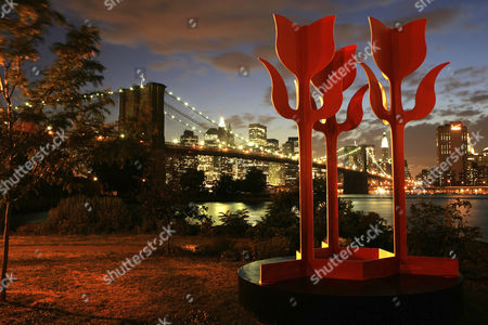 Stock Picture of USA, United States of America, New York City: Skyline of south Manhattan, at dusk. View from Brooklyn, Brooklyn Bridge, East River. Brooklyn Bridge Park. Tulips - Aluminium sculptures of the british born and now in NY living artist Edwina Sandys.