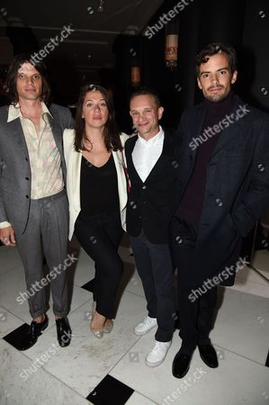 Stock Picture of Nikolai Haas, Guest, Evan Snyderman, Simon Haas attends the opening reception for Frieze London in the Mirror Room at Rosewood London in partnership with UTA and Artsy