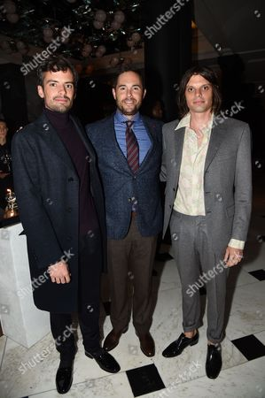 Stock Image of Simon Haas, Josh Roth, Nikolai Haas attends the opening reception for Frieze London in the Mirror Room at Rosewood London in partnership with UTA and Artsy