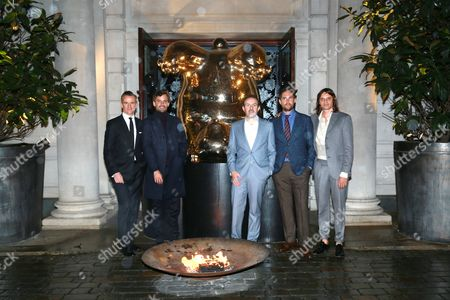 Stock Photo of Micheal Bonsor, Simon Haas, Sebastian Cwilich Josh Roths, & Nikolai Haas attends the opening reception for Frieze London in the Mirror Room at Rosewood London in partnership with UTA and Artsy