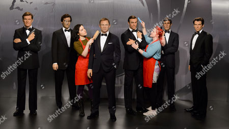 James Bond wax figures - Roger Moore, Timothy Dalton, Daniel Craig, Sean Connery, George Lazenby and Pierce Brosnan